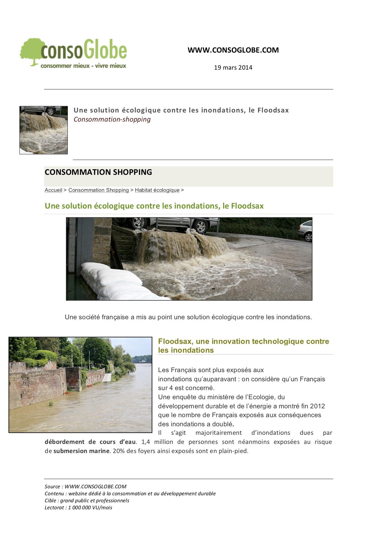 Consoglobe solution inondation écologique